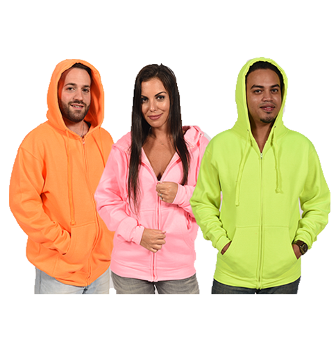 4011<br>FOR PRIVATE LABEL ONLY<br>Full-Zipper Neon Hoodie Unisex