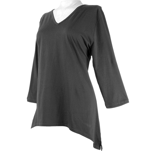 7017<br>3/4-Sleeve V-Neck Asymmetrical Top with Slit-Side
