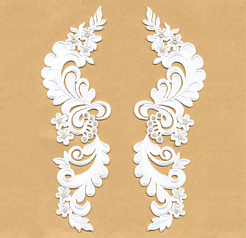 A3361-SIL - White Leaves & Silver Flowers - Pair