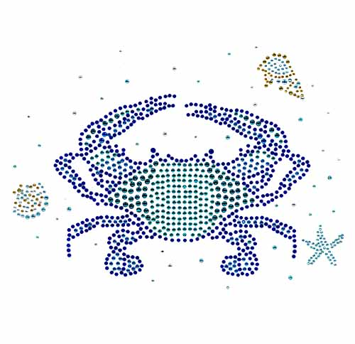 "S101563   -9.2"" X6.7"" LARGE CRAB W BLUE & GREEN STONES"