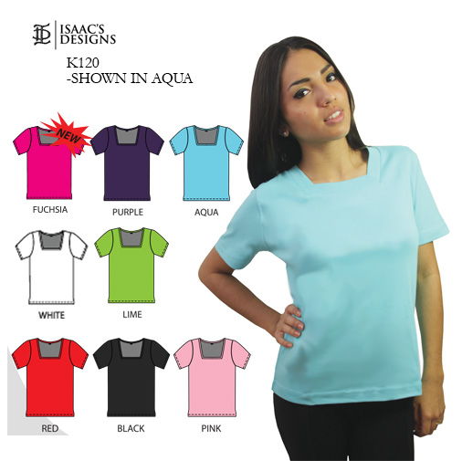 K120-  SHORT SLEEVE, SQUARE NECK. CLOTHING, CLOTHES, APPAREL