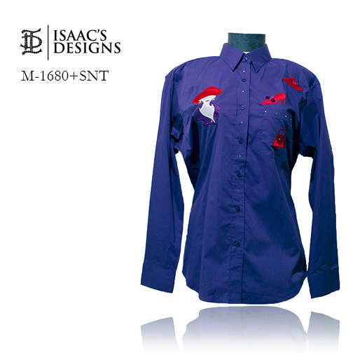 M-1680+SNT-RED HAT LONG SLEEVE BUTTON DOWN W/APPLIQUES AND STONE