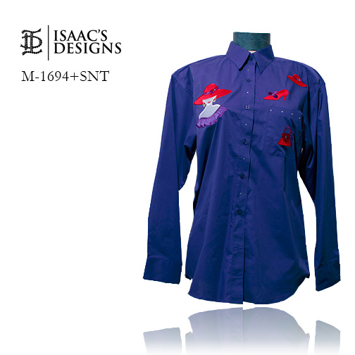 M-1694+SNT-RED HAT LONG SLEEVE BUTTON DOWN W/APPLIQUES AND STONE