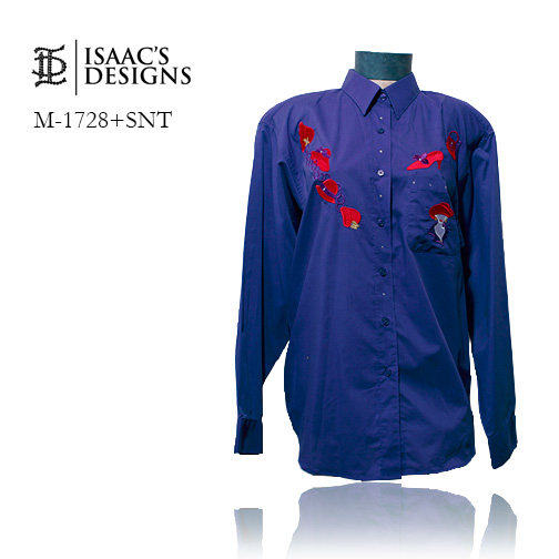 M-1728+SNT-RED HAT LONG SLEEVE BUTTON DOWN W/APPLIQUES AND STONE