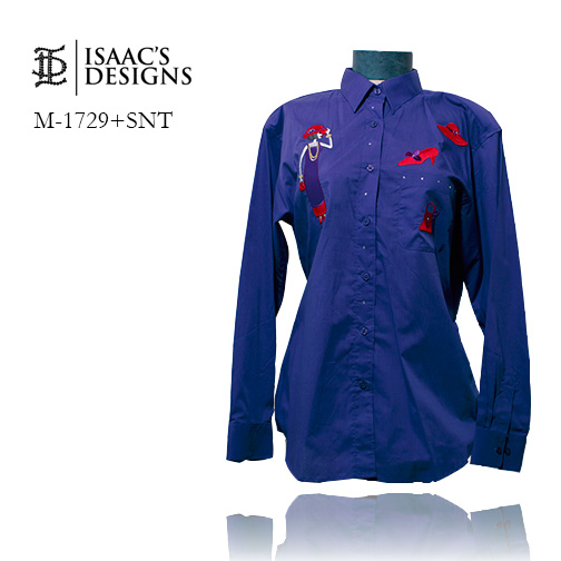 M-1729+SNT-RED HAT LONG SLEEVE BUTTON DOWN W/APPLIQUES AND STONE