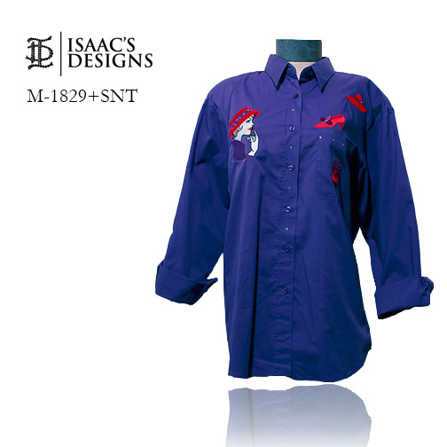 M-1829+SNT-RED HAT LONG SLEEVE BUTTON DOWN W/APPLIQUES AND STONE