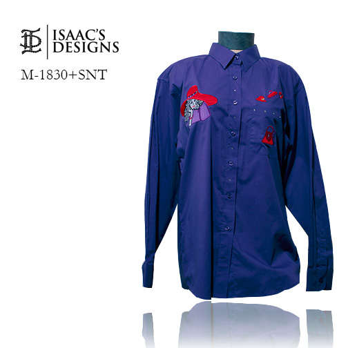 M-1830+SNT-RED HAT LONG SLEEVE BUTTON DOWN W/APPLIQUES AND STONE