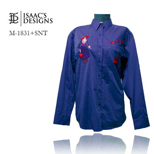 M-1831+SNT-RED HAT LONG SLEEVE BUTTON DOWN W/APPLIQUES AND STONE