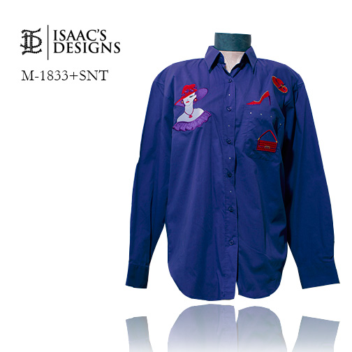 M-1833+SNT-RED HAT LONG SLEEVE BUTTON DOWN W/APPLIQUES AND STONE