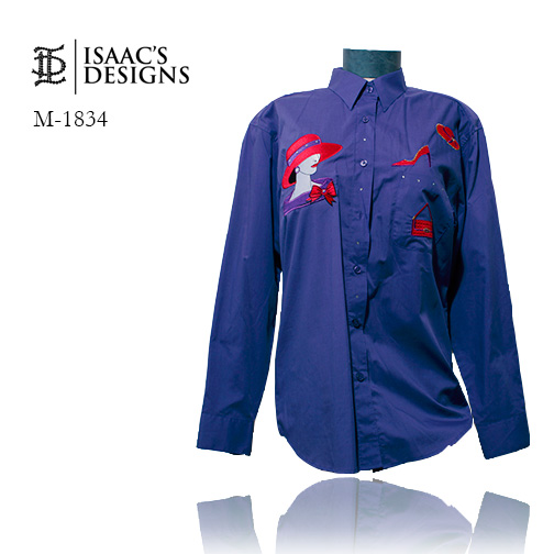 M-1834+SNT-RED HAT LONG SLEEVE BUTTON DOWN W/APPLIQUES AND STONE