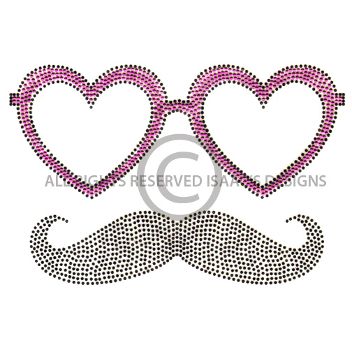 S100013-HEART GLASSES W/MUSTACHE, KIDS
