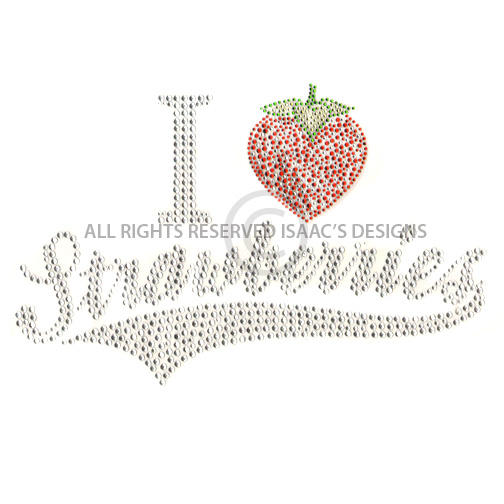 S100064-I HEART STRAWBERRIES, FRUIT, PHRASES