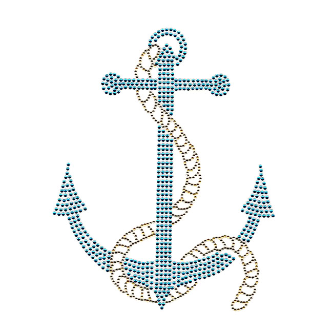 S100238-AQUA  -  LARGE BLUE ANCHOR W/ GOLD ROPE