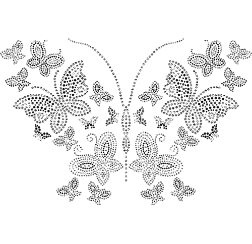 S101135-CLR<br>Clear, Silver & Black Butterflies