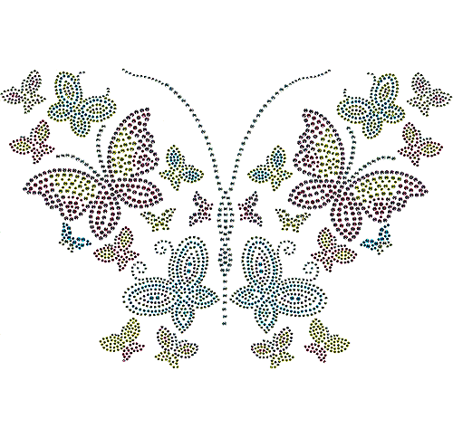 S101135-MIX<br>6-Color Butterflies with 2 & 3mm Studded Wings
