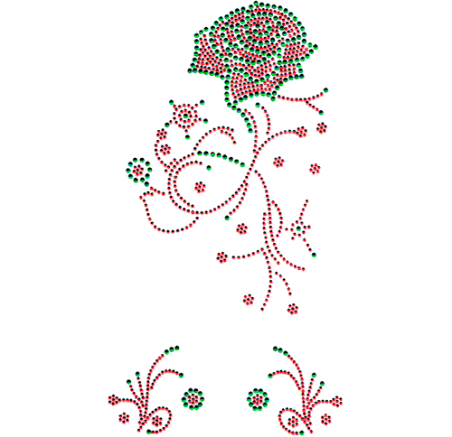 S101295-RED - Red & Green Rose Decor Set