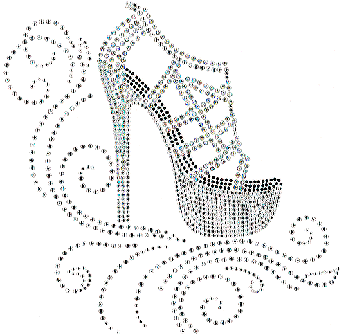S101310-CLR - AB Crystal Strapped High-Heel Shoe over Swirls