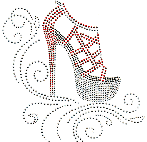 S101310-RED - Red Strapped High-Heel Shoe over Swirls
