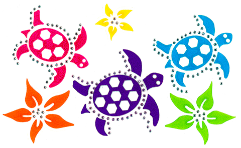 S101348-SIL Three Turtles with flowers