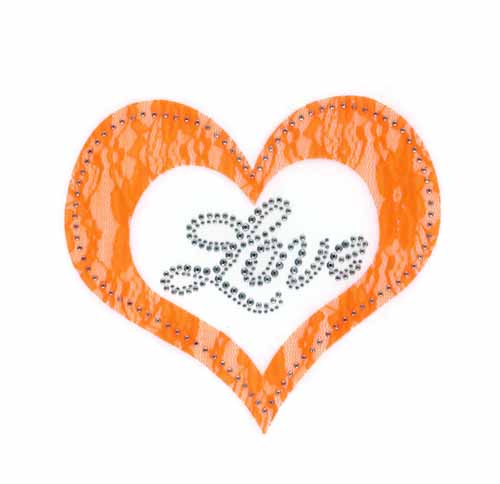 "S101452-ORG 7.9""x 7"" Orange lace applique heart w/ ""Love"" phrase"