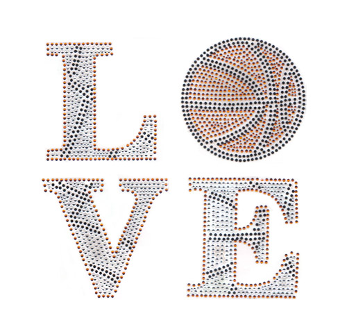 "S101502-FULL 9.45""x 9.43"" Love Basketball Phrase  Black,Orange,"