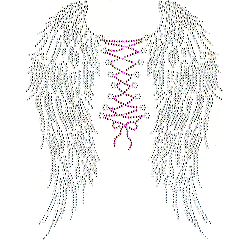 S101578-FUC - Angel Wings with Fuchsia String