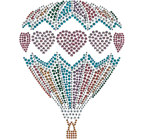 S101657 - Colorful Hot Air Balloon with Hearts