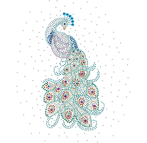 S101740<br>Peacock surrounded by Clear stones