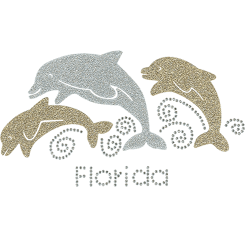 "S102092-FL<br>Glittery Dolphin Trio with ""Florida"" Namedrop"