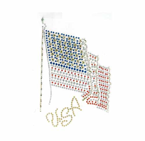 S10371 USA FLAG BLUE, RED, GOLD, AND SILVER NAILHEADS 6x9""