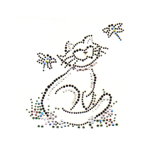 S1364SM- SMALL HAPPY CAT WITH DRAGONFLIES, CATS, ANIMALS BLAK