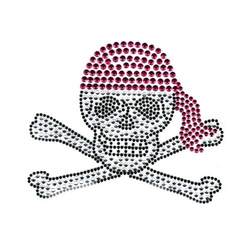 S1735PL - LARGE SKULL AND CROSSBONE WITH PINK BANDANA