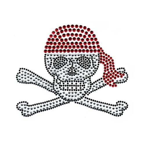 S1735RL - LARGE SKULL AND CROSSBONE WITH RED BANDANA