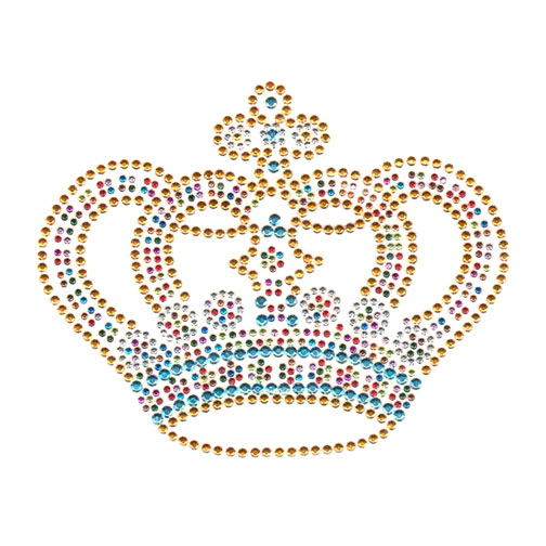 S1818-GLD CROWN GOLD RED LT. BLUE & SILVER STUD