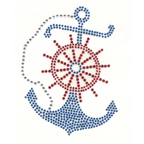 S1965BLUE - LARGE BLUE ANCHOR WITH RED WHEEL