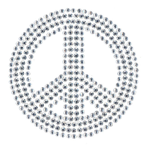 S2010S-SIL  - SMALL CLEAR/SILVER PEACE SIGN, SYMBOL, SYMBOLS