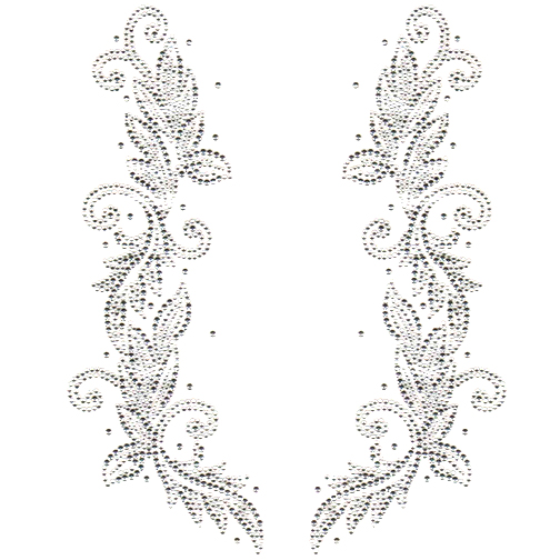S2144-CLR  Floral Clear Stones Decor