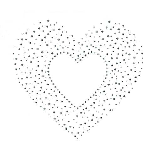 S2157L-CLR  LARGE CLEAR AND SILVER HEART