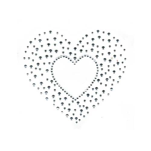 S2157S-SMALL  CLEAR AND STUDS HEART