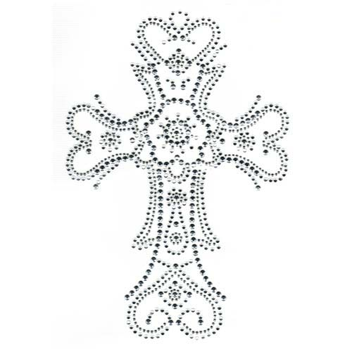 S2329-SIL - Large 2-Tone Silver & Crystal Cross