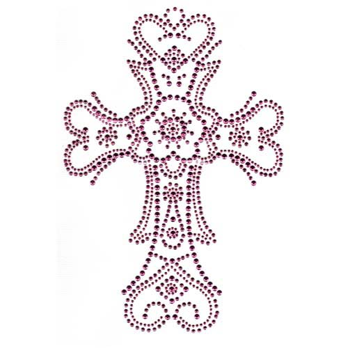 S2329-PINK - Large 2-Tone Pink Cross