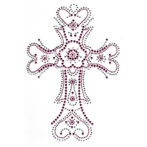 S2329PC - Large 2-Tone Pink & Crystal Cross