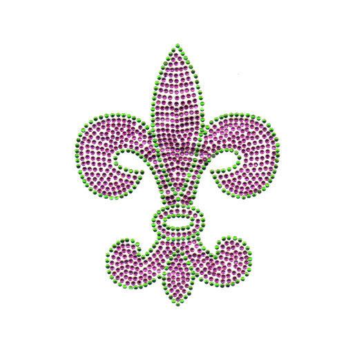 S2331la Pur Green And Purple Fleur De Lis Symbol Mardi Gras Isaacs