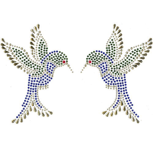 S2679BLUE -was s2679 2 Humming bird - blue, studs , red & gold n