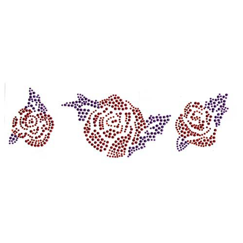 S2881E  Three Roses in Red and Purple Studs