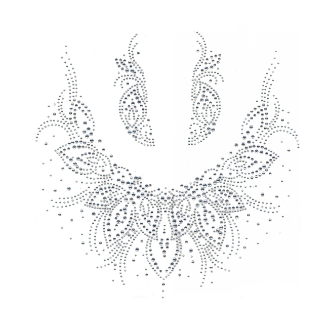 S3264-CLR<br>Clear Silver Leaves Scoop Neckline