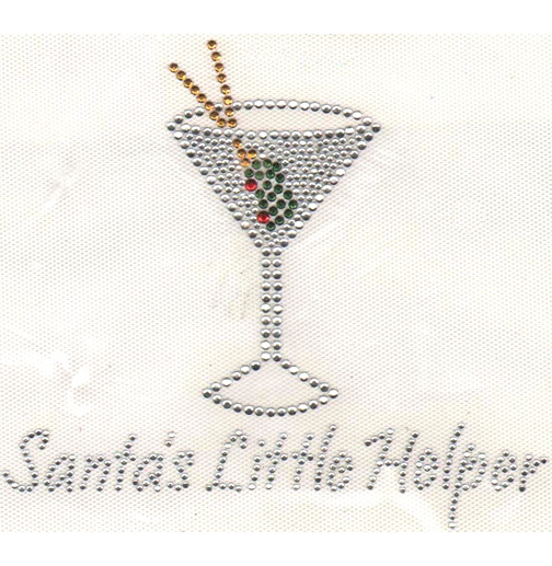 "S3439-""SANTA'S LITTLE HELPER"" WITH MARTINI,CHRISTMAS,HOLIDAYS"
