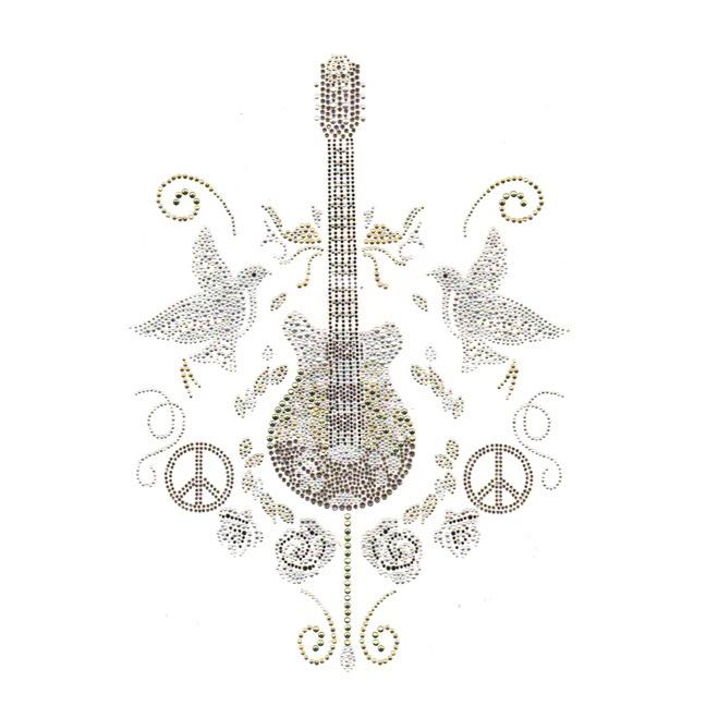 S3702-GUITAR DOVE, PEACE SIGN AND ROSES CRYSTAL BLACK DIAMOND JE