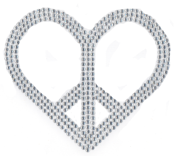 S3811c Heart Peace Sign Crystal Signs Symbol Symbols Isaacs