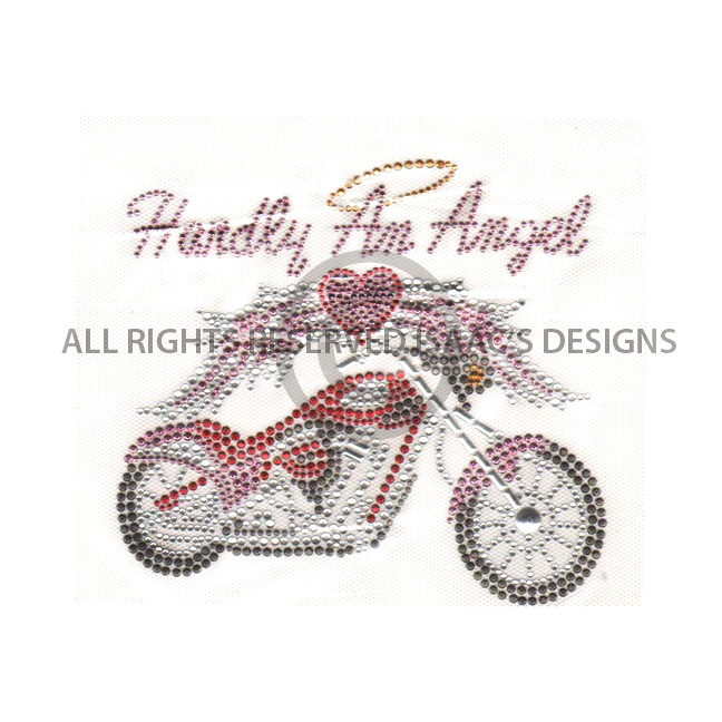 S3938MED -MED  HARDLY AN ANGEL WITH MOTORCYCLE,BIKERS,PHRASES